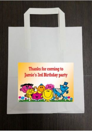 4 x Mr Men Birthday Party Bags with Personalised Sticker